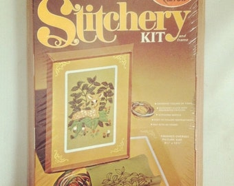 ON SALE Vintage Unopened Deadstock Arrow Fawn At Rest Stitchery Kit Wall Hanging