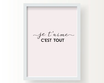 Je t'aime .French Love. I love you . Wedding Gift.