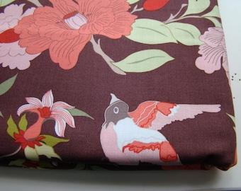 Chcolate Bird Fabric, Wooster and Prince Good Life Collection Organic Cotton Fabric, Half Yard Cuts, Robert Kaufman, OOP