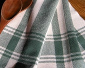 Hand Woven Tea Towel, Cotton Dish Towel, Handwoven Towel, Green and White, Woven Kitchen Towel, Weaving, Loomed Towel, Fiber Art Weaving