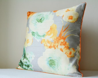 Beautiful Spring summer Grey Floral Pillow Cover , Rose Print Floral Cushion Cover ,  Grey Floral Decorative Pillow ,  Spring Cushion Cover