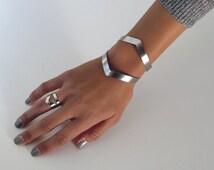 wide cuff bracelet / geometric cuff bracelet / silver cuff bracelet / statement bracelet diamond cuff / stainless steel cuff edgy jewelry