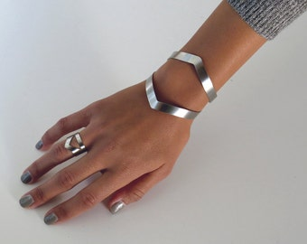 wide cuff bracelet / geometric cuff bracelet / silver cuff bracelet / statement bracelet diamond cuff / edgy jewelry