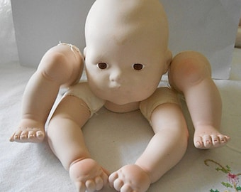 PORCELAIN DOLL MAKING Parts Sweet Head Brown Eyes, 2 Legs & Arms with Stuffed Cloth Ends, 1980s Vintage Kit Large Single Doll, Supplies #1
