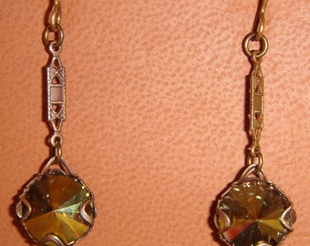 Swarovski Crystal Olive Color Pierced Earrings in Natural Brass