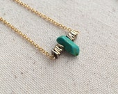 Turquoise and hematite geometric bead necklace on 18k Gold Filled chain / choose your necklace size / FREE gift wrapping