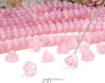Milky Pink Bell Flower Beads, Czech Glass Beads, Flower Bead Cap, 8x6mm Bellflower Beads, Lot Size 25 Beads, #205