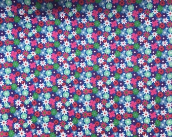 Floral cotton fabric, ditsy floral, navy and pink fabric, 100% cotton, sewing dabruc, cragt fabric, dress fabric, ditsy floral fabric