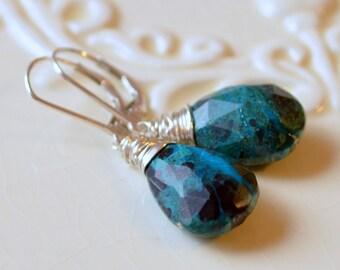Turquoise Chrysocolla Earrings, Drop Earrings, Gemstone Jewelry, Leverback Lever Earwires, Sterling Silver Jewelry, Free Shipping