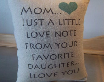 Mom pillow gift to mom from daughter cotton canvas throw pillow love quote cushion mommy birthday gift mother thank you gift mod pillows