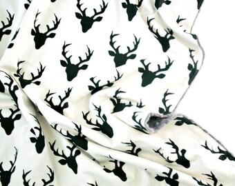 Minky Baby Blanket - Deer Heads Black - Personalization Available - Toddler Blanket - Deer Blanket