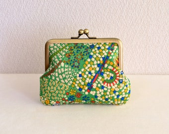 Retro green art coin purse - Liberty, frame purse, clasp purse