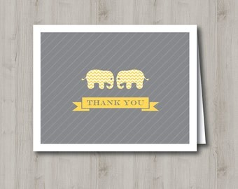 Printable Thank You Card - Yellow Elephant - INSTANT DOWNLOAD