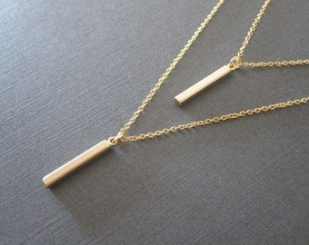 Gold Bar Double Chain Necklace