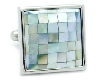 Green Mosaic Shell Cufflinks