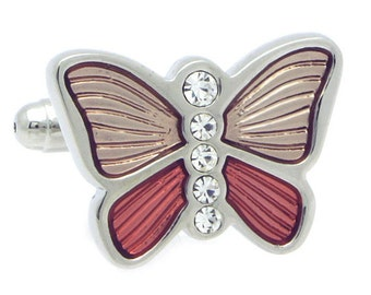 Pink Butterfly with Crystal Cufflinks