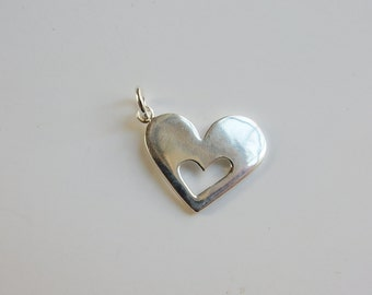 Sterling silver Heart Pendant with Heart cutout (18x15mm)