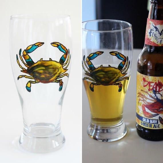 Blue Crab Pilsner Glass, Maryland Blue Crab, Hand painted Beer Glass, Bar Glass, Beer Gift, Maryland Glass, Old Bay