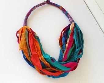 Fabric necklace-textile necklace-boho necklace-colorful necklace-bib necklace-silk sari ribbon-eco friendly jewelry
