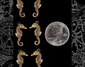 Six Antique Brass Small Flat Sea Horse Charms AB-C156