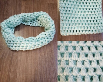 Mint Green Turquoise Crocheted Puff Stitch Cowl Scarf