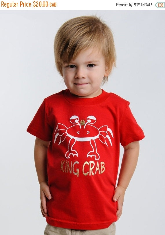 ON SALE Kids boys clothes, kids toddler clothing, red king crab t-shirt, sale,2T 4T 6T, ready to ship