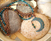 Over The Moon Boho Style Vintaj Patina Antique Copper and Teal Triple Strand Necklace