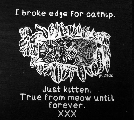 Punk Patches Straightedge Patches Straight Edge Patch Cat SXE XVX XXX Pure Sober Drug-free Poison Free Humor Meow Catnip  Black Cloth Patch