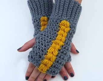 Fingerless Gloves - Grey and Mustard Fingerless Mittens - Grey and Mustard Texting Gloves