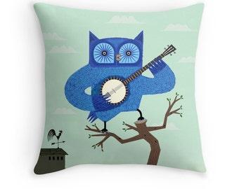 "The Banjowl -  Light Green / Blue - Throw Pillow / Cushion Cover (16"" x 16"") iOTA iLLUSTRATION"