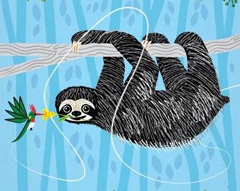 The Sloth and The Hummingbird - animal friends - childrens art - nursery decor - limited edition art poster print - iOTA iLLUSTRATiON