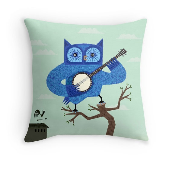 "The Banjowl -  Light Green / Blue - Throw Pillow / Cushion Cover (16"" x 16"") iOTA iLLUSTRATION"
