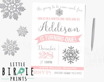 WINTER ONEDERLAND INVITATION - Silver and Pink Winter Onederland Invitation - Pink and Grey Winter Onederland Invitation - Printable