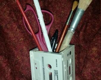 Cassette Tape Desk organizer Pencil Holder Art 80s Rock retro music whitesnake black sabbath dokken