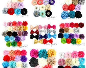 Flowers for Hair and Headband Making - Variety Pack - Grab Bag - Assortment - Hair Flowers, Wedding Flowers, Chiffon Flowers