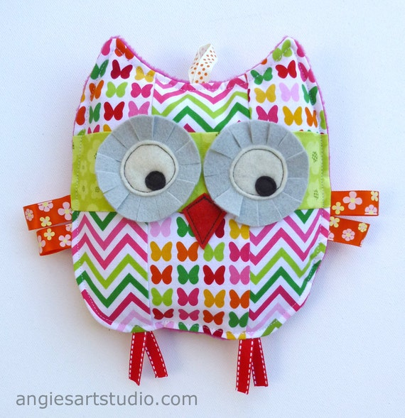 Penelope the Patchwork Owl, Baby Toy, Crinkle Toy, Crinkle Owl, Baby Girl Gift