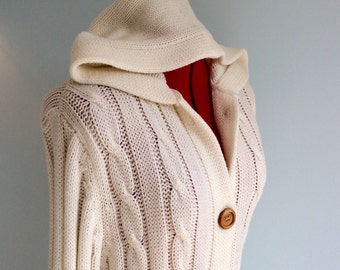 Vintage 70s Ivory CABLE KNIT Cardigan Sweater Coat