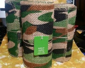 Roll of Jute Mesh Burlap Ribbon, camo, camoflage, 100% Jute. A camouflage pattern on a natural background