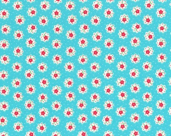Japanese Lecien - Flower Sugar Fall 2014 Fabric - Tiny Flower Doily in Aqua Blue - cotton quilting fabric - choose your cut