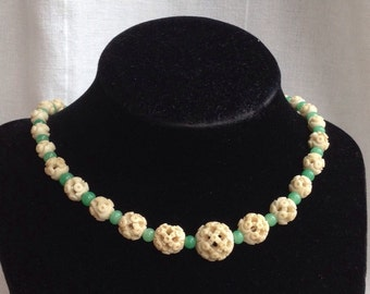 Stunning Art Deco Pierced Bone and Jade Green Bead Necklace