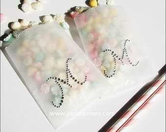 Personalized Wedding, Glassine Favor Bags, Silver Rhinestones, Bridal Shower Candy Bag, Sweet 16 Treats, 25th Anniversary Party, Set Of 24