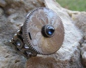 Steampunk Pocket Watch Part Ring Gorgeous Sapphire crown accent R 45