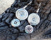 PMC Dangles - Fine Silver Double Wheel Earrings - Artisan Wheel Earrings