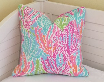 Lilly Pulitzer Let's Cha Cha in Tiki/Shorely Blue Designer Pillow Cover with Self Welting - Square, Euro and Lumbar Sizes