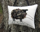 Irish Sheep Pillow, St. Patricks Day, Primitive Ireland Sheep Hand Embroidery, Vintage Buttons, Unique Brown Black Sheep, Original, HAFAIR
