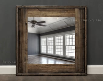 Reclaimed Wood Mirror Bathroom Mirror Brown Streaky Wood Frame Rustic Wall Mirror Decorative Square  26 x 26