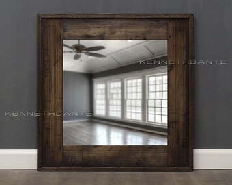 Reclaimed Wood Mirror Bathroom Mirror Brown Weathered Wood Frame Rustic Wall Mirror Decorative Square  26 x 26