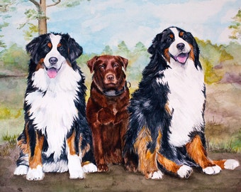 Custom Painted Portrait of your Pets - Original Watercolor Painted by Julia Raven, size 12x16 inches