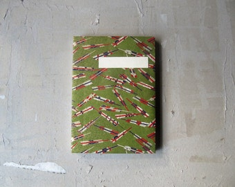 retchoso Japanese sketchbook journal - Chiyogami green closed fans