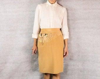 80s Artsy-Glam Silk Pencil Skirt/// Size 8/ medium